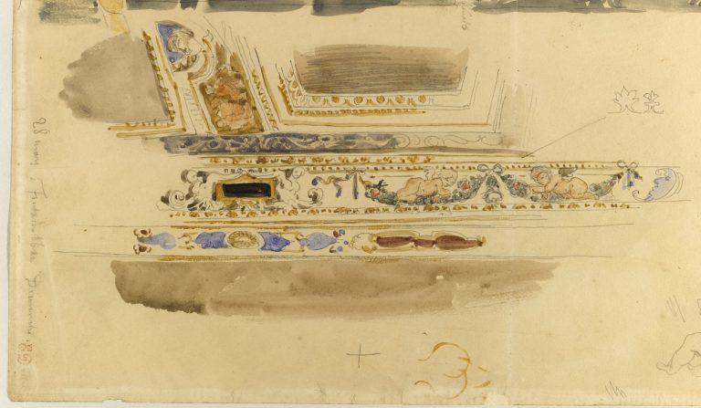 Etude d'après des décors du salon Louis XIII - château de Fontainebleau