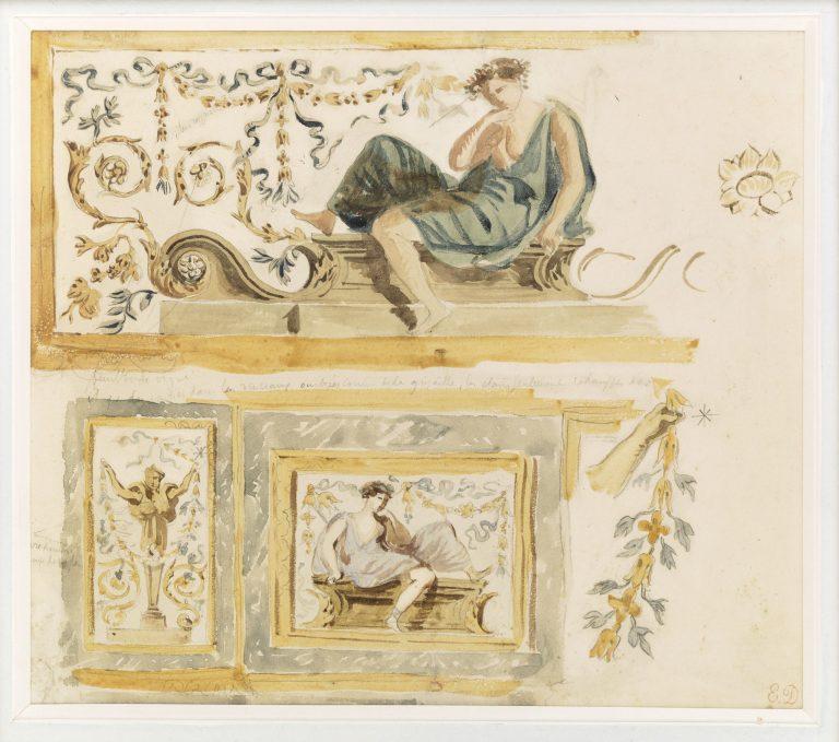 Etude d'après le lambris de la chambre d'Anne d'Autriche - château de Fontainebleau
