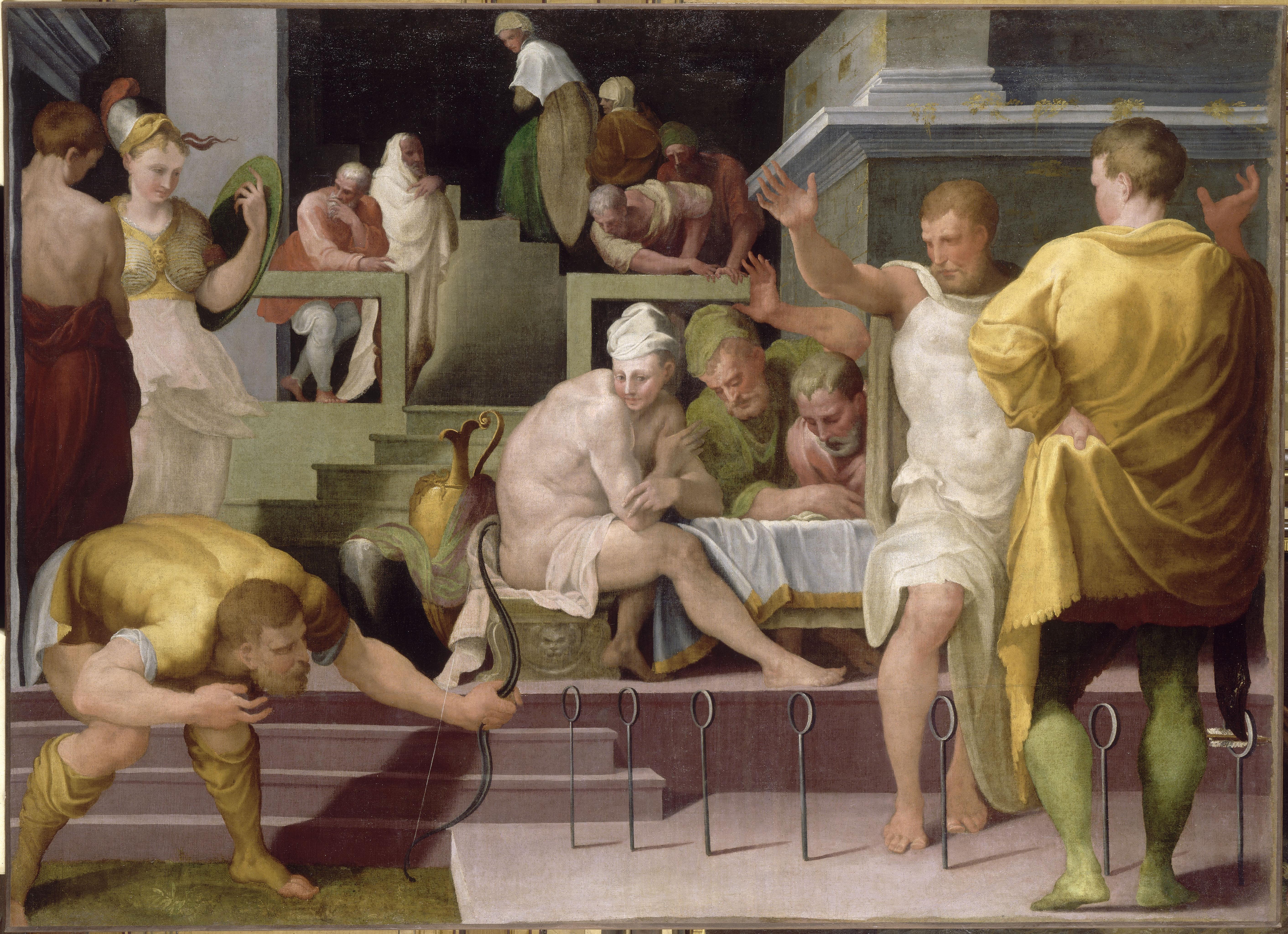 Ulysses in Ithaca. The archery game by Ruggiero de Ruggieri - château de Fontainebleau - © RMN Grand Palais