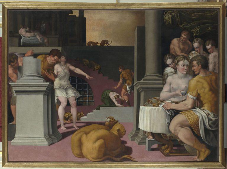 Ulysse protégé par Mercure des charmes de Circé de Ruggiero de Ruggieri - château de Fontainebleau