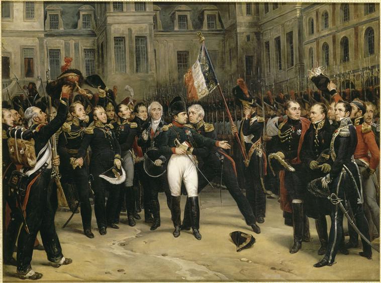 Adieux de Napoléon Ier à la garde impériale dans la cour du cheval blanc du château de Fontainebleau