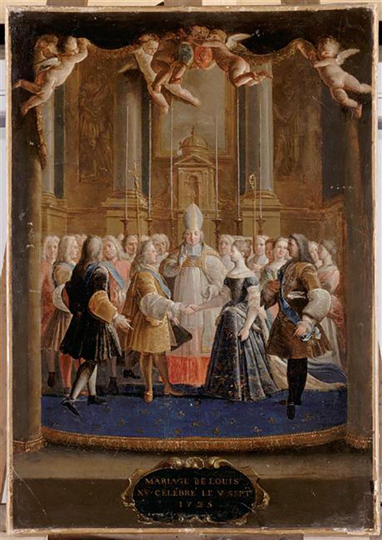 Le mariage de Louis XV dans la chapelle de la Trinité