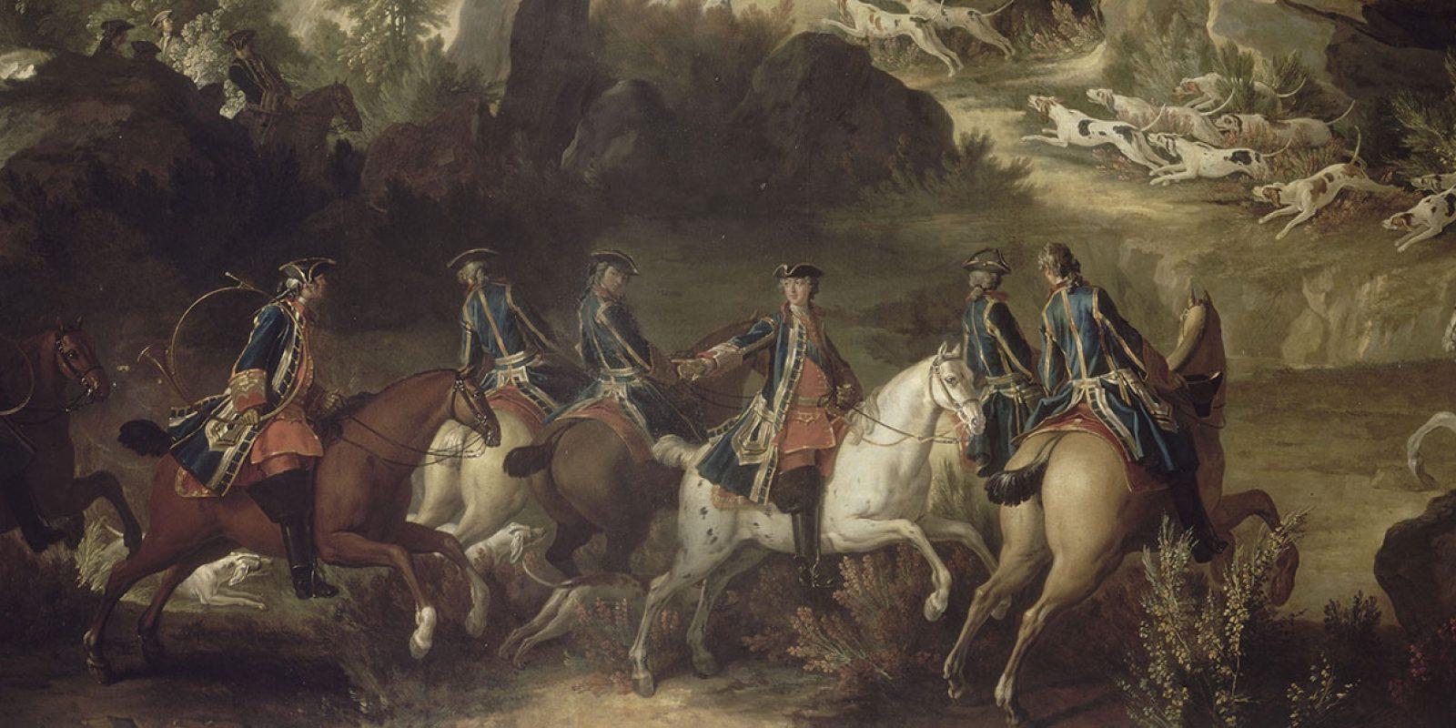 Jean Baptiste Oudry (1686-1755) - Cerf aux abois dans les rochers de Franchard, forêt de Fontainebleau