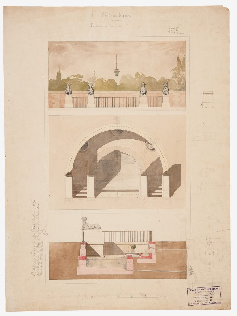 Plan of the fountain in Place d'armes at the château de Fontainebleau in 1836