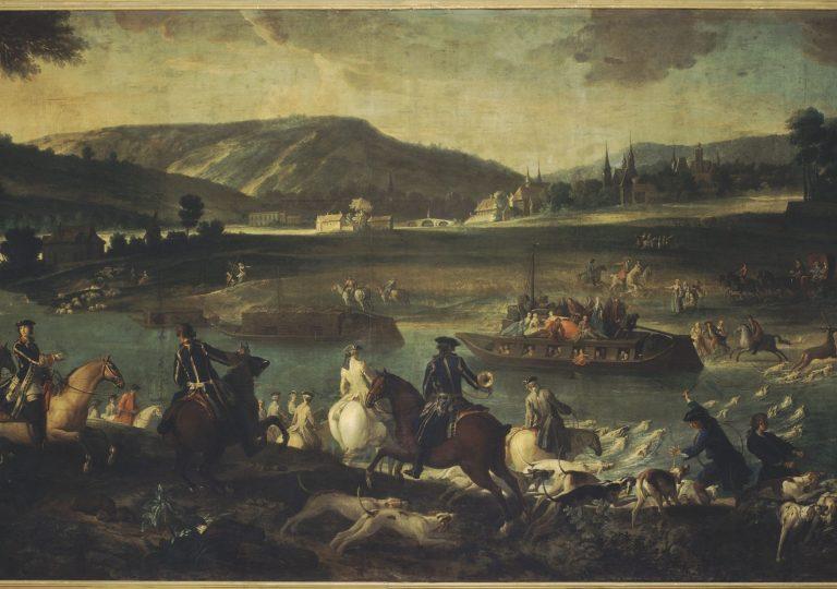 Chasse au cerf dans l'Oise à la vue de Compiègne de Jean Baptiste Oudry - château de Fontainebleau